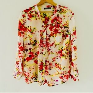 Atmosphere Flowery Button Down Long Sleeve Shirt